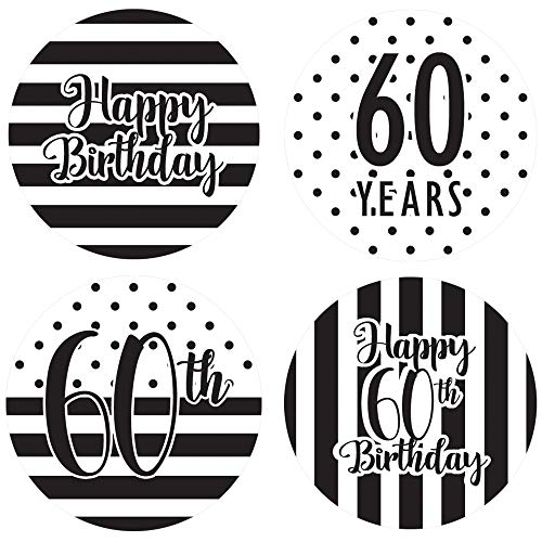 Black and White 60th Birthday Party Favor Circle Sticker Labels, 60 Count