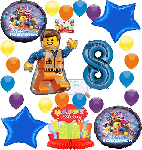 Lego Movie 2 Deluxe Balloon Decoration Bundle for (8th Birthday)]()