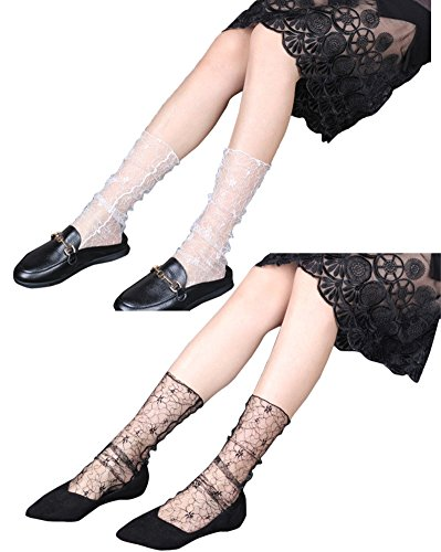 Ealafee Girl's Short Ankle Tube Black Sexy Mesh Nrew Socks Pack Short Stockings