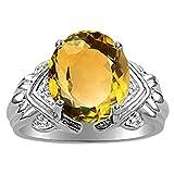 Citrine / Yellow Topaz & Diamond Ring set in Sterling Silver .925 - Genuine Natural November Birthstone & Diamonds