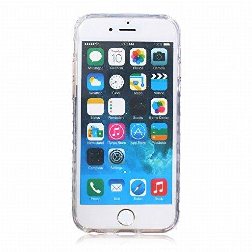 Pour iphone 6 Plus / 6S Plus (5.5inch) Coque Etui, Ougger Mode Blue Papillon TPU Caoutchouc Silicone Transparent Protecteur Bumper l¨¦ger Skin Housse