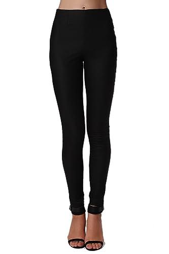 Q2 Mujer Pantalones negros ajustados de talle alto de primera calidad - XS