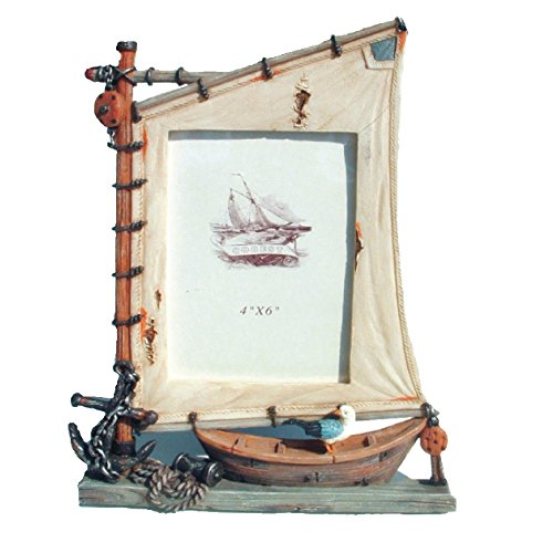 Rockin Gear Picture Frame Sailboat Nautical Themed Photo Frame - Holds a 4