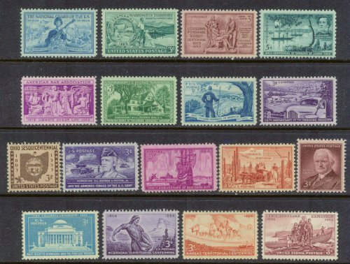 (Complete set of US Commemorative Stamps issued in 1953 and 1954 Mint, Never-hinged. Includes issues honoring National Guard, Washington Territory, Louisiana Purchase, China, Future Farmers, Truckers, George Patton, Nebraska, Kansas and more)
