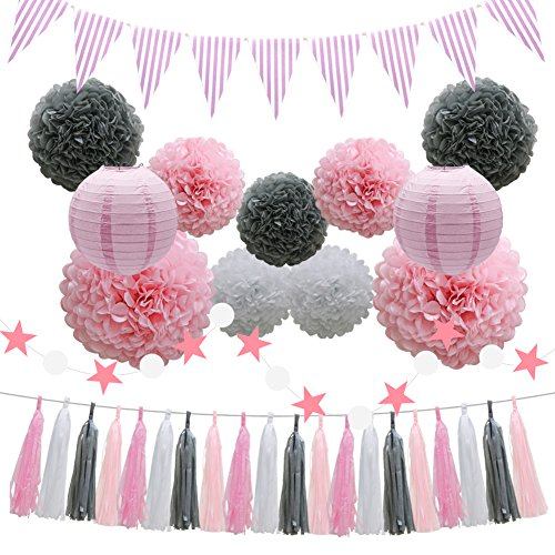 Party Decorations Supplies - Pink Baby Shower Birthday Decorations - 33pcs Tissue Paper Pom Poms Flowers Paper Lanterns Tassels Hanging Garland Banner Triangle Flag Bunting - Bridal Wedding -