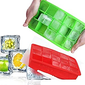 2 Pack— 15 Ice Cubes Tray Mold-Silicone-Candy Mold Cake Mold Chocolate Mold, Green and Red