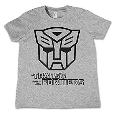 Officially Licensed Merchandise Autobot Logo Unisex Kids T Shirts - H.Grey 3/4 Years