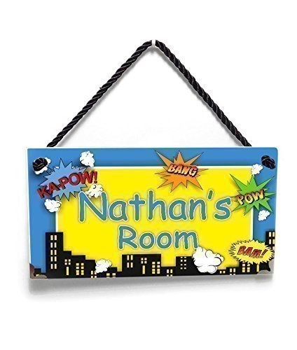 Personalized Superheroes Themed Kids Name Door Sign Blue and Yellow Room Decor