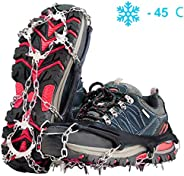Gpeng Crampons Ice Cleats for Shoes and Boots Women Men Kids Anti Slip 19 Spikes Stainless Steel Microspikes for Hiking Fish