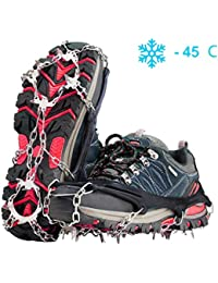 Crampons Ice Cleats for Shoes and Boots Women Men Kids Anti Slip 19 Spikes Stainless Steel Microspikes for Hiking Fishing Walking Climbing Jogging Mountaineering