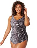 Swimsuits for All Women's Plus Size Sarong Front One Piece Swimsuit 18 Multi