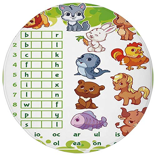 Round Rug Mat Carpet,Word Search Puzzle,Rebus Game with Animals for Preschool Kids Find Correct Part of Words Decorative,Multicolor,Flannel Microfiber Non-slip Soft Absorbent,for Kitchen Floor Bathroo -