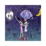 FunnyCustom Square Wall Clock Sweet Love Wallpaper 7.8 Inch Creative Decorative for Living Room/Kitchen/Bedroom