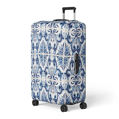 Pinbeam Luggage Cover Abstract Closeup Detail of Old Portuguese Glazed Tiles Travel Suitcase Cover Protector Baggage Case Fits 22-24 inches ()