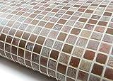 ROSEROSA Peel & Stick Backsplash Graphic Tile Textured Self-Adhesive Vinyl Contact Paper Interior Film Shelf Liner Table and Door Reform (GM4706-1 : 2.00 Feet X 6.56 Feet)