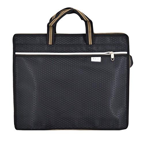Zipper Canvas Handbag Briefcase Double Layer Office Business Document (Document Bag)