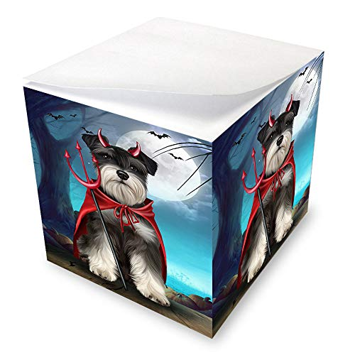 Happy Halloween Trick or Treat Miniature Schnauzer Dog Devil Note Cube NOC52529 -