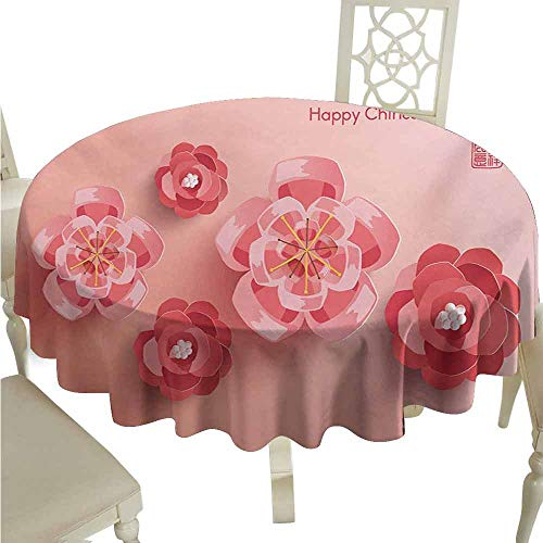 duommhome Chinese New Year Spill-Proof Tablecloth Blossoming Ornamental Flowers in Pinkish Colors Zodiac Theme Easy Care D35 Coral and Dark Coral