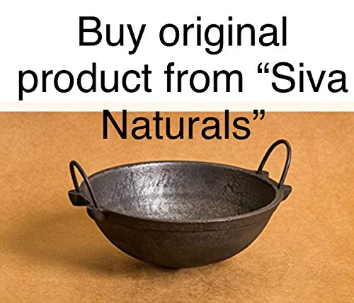 Siva Naturals Hand Made Cast Iron Kadai, 8.5-inch, 1.8kg Kadhai & Woks at amazon