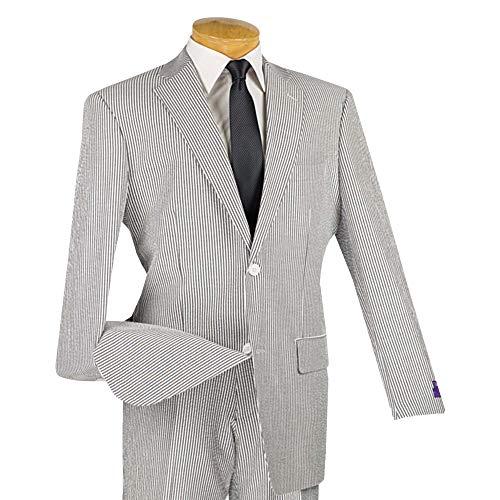 VINCI Men's Striped Seersucker 2 Button Classic-Fit Suit 100% Cotton Black | Size: 44 Long / 38 ()