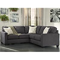 Flash Furniture Signature Design by Ashley Alenya 2-Piece Sofa Sectional in Charcoal Microfiber