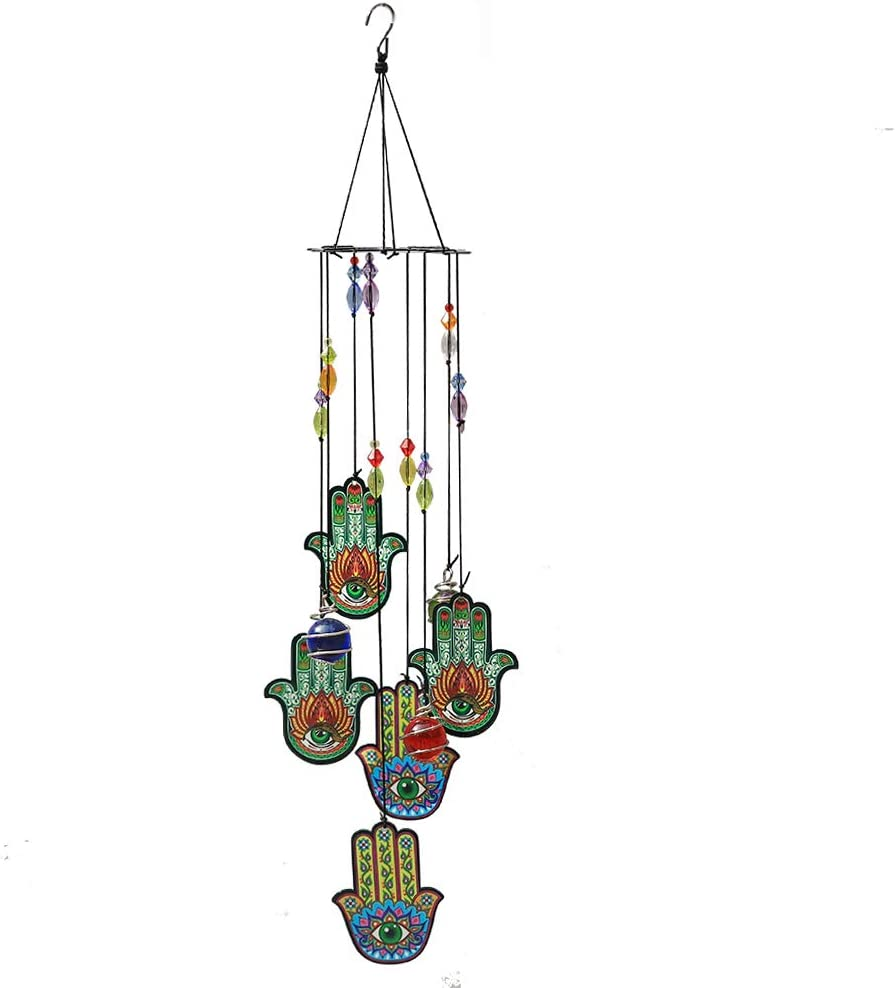 COTO Wind Chimes for Home Garden Decoration Good Luck Hamsa Hand Wall Hanging Ornament Blessing Protection Decor for Patio, Porch, Garden, or Backyard