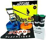 HopOn Slacklines 50ft Fitline Slackline Kit For Beginners with Ratchet, Tree Protection and Helpline - Blue