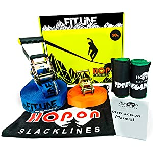HopOn Slacklines Complete Slackline Kit for Kids & Adults 50 ft Fitline Includes Training Line, 2x Treeguards Tree Protection + Carrying Bag for Fitness, Balance, Exercise and Fun Eas
