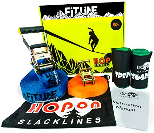 HopOn Slacklines 50ft Fitline Slackline Kit For Beginners with Ratchet, Tree Protection and Helpline - Blue