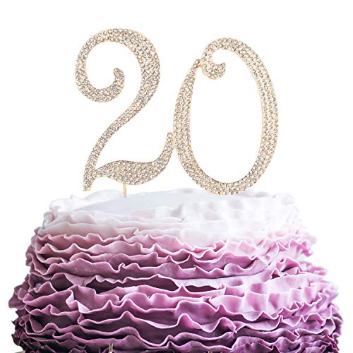 Cake Candle Gift - LINGPAR 20 Years Birthday Cake Topper - New Best Crystal Rhinestone 20th Wedding Anniversary Or 20 Years Old Cake Topper Party Decoration Gold