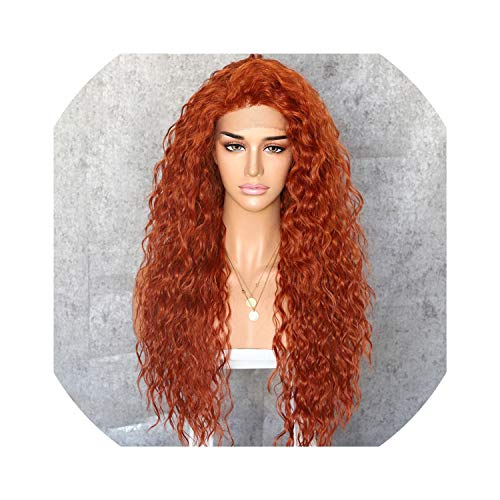 Sheep Store Curly Type Kanekalon Heat Resistant Hair Black Highlight Gold Women Daily Makeup Synthetic Lace Front Party Wig,Orange,150%,Lace Front,26Inches]()