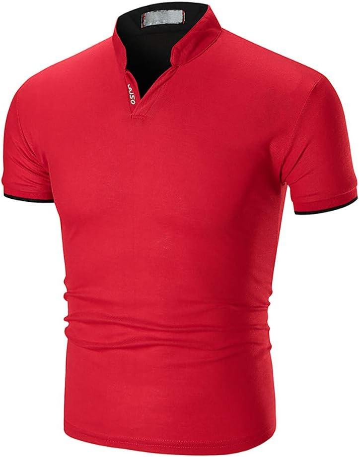 Summer Mens Rigid Collar Casual Pure Color Fashion Short Sleeve Tops Tronet Mens Summer t Shirts Short Sleeve