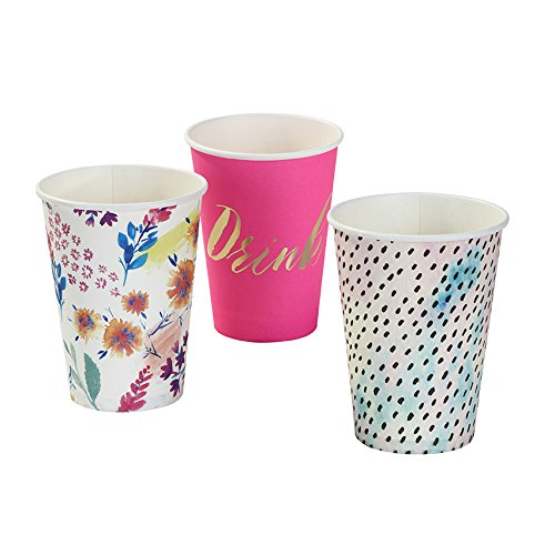 Talking Tables Fluorescent Floral Large Disposable Cups for a BBQ, Luau, or Summer Party, Multicolor (12 Pack)