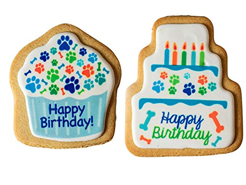 The Lazy Dog Cookie Co. Happy Birthday Cupcake and Cake Cookies for Dogs (Blue)