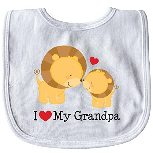 (Inktastic - I Love My Grandpa Baby Bib White efbc )