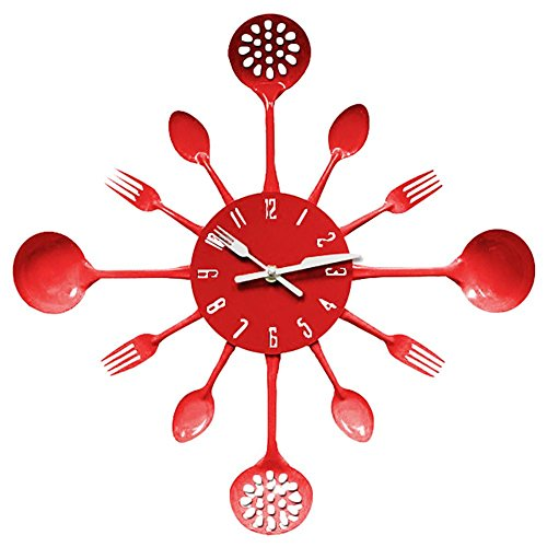 MCC Red Cutlery Wall Clock/Fork & Spoon Decoration Kitchen Home/40404.5cm?15.7415.741.77inch? (Decorative Spoon And Fork Large)
