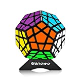 Megaminx Speed Cube | Stickers Megaminx Magic Cube Puzzle | 3x3 Dodecahedron Puzzles with Cube Stand | Brain Teasers Toys (Black)