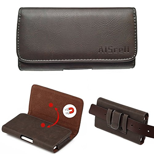 All_instore 5335258 Sideways Leather Belt Clip Loop Holster Pouch for iPhone 5/5s/5c with Otterbox Commuter Case - (Suede Horizontal Carry Case)