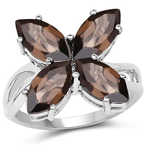 Bonyak Jewelry Genuine Marquise Smoky Quartz Ring in Sterling Silver - Size 6.00