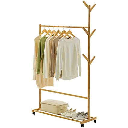 LIZIYMJ Perchero, casa de bambú Simple Piso de ...