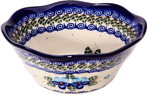 Polish Pottery Ceramika Boleslawiec, 0423/162, Bowl Viki 1, 3 1/4 Cups, Royal Blue Patterns with Blue Pansy Flower Motif