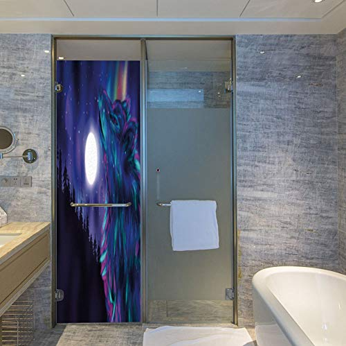 C COABALLA The Visual Effect of Textured Glass and Stained Glass,Moon,is Good for Long Year Under The Sunshine,Northern Imagery with Aurora Borealis Wolf Spirit Magical,24''x78'' 08 Aurora Borealis Crystal
