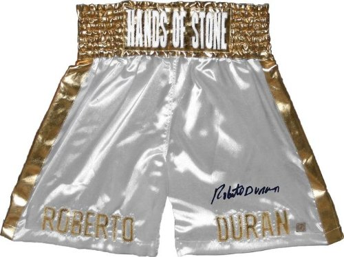 "Roberto Duran Signed White Trunks""HANDS OF STONE"" on waste - Autographed Boxing Robes and Trunks"