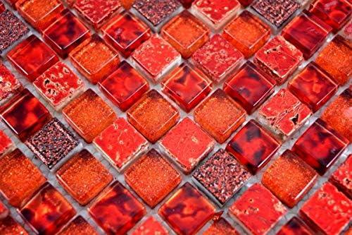 Mosaikfliese Transluzent rot Glasmosaik Crystal Resin rot BAD WC K/üche WAND MOS92-0904/_m