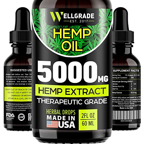 Hemp Oil for Pain & Anxiety Relief - 5000 MG - Premium Seed Grade - Natural Hemp Oil for Better Sleep, Mood & Stress - Pure Hemp Extract - Vitamins & Fatty Acids - Made in The USA