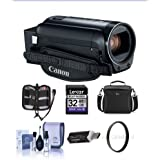 Canon VIXIA HF R82 3.28MP Full HD Camcorder, Bundle With 43mm UV Filter, Video Bag, 32GB SDHC Card, Cleaning Kit, Card Reader, Memory Wallet