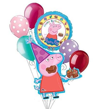 Amazon.com: 7 pieza Peppa Pig Feliz cumpleaños globo Ramo ...