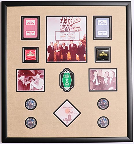RAT Pack Sands Hotel Photo Framed w/ Cards , Poker Chips, Casino Napkin, Room Key Fob and Matchbooks by Main Street Framing