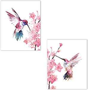 "CRPBKU Hummingbird Prints a Set of 2 (10""X8"" Hummingbirds on The Sakura Wall Art, Cherry Blossom Art for The Girl Kindergarten Wall Artist Residence Decoration, no Frame"