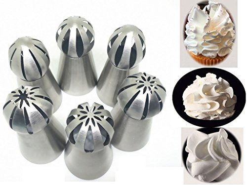 Joinor NEW Version Stainless Steel 304 6pcs Set Sphere Ball Tips Russian Icing Piping Nozzles Tips Pastry Cake Fondant Cupcake Buttercream DIY Baking Tool